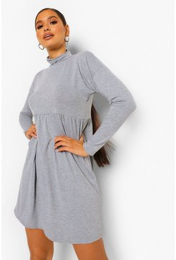 Grey Long Sleeve High Neck Smock Dress