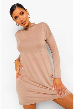 Stone beige Long Sleeve High Neck Smock Dress