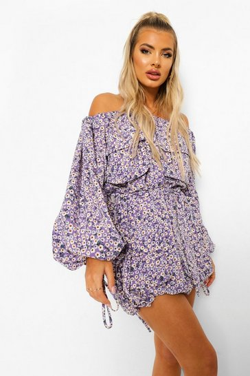 Purple Off The Shoulder Pocket Detail Mini Dress