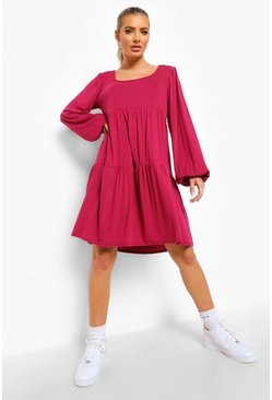 Raspberry pink Mask Long Sleeve Square Neck Smock Dress