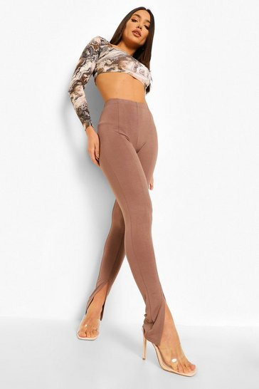 Mocha beige Front Split Hem Basic Leggings