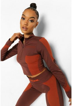 Chocolate brown Ofcl Seamfree Contour 1/2 Zip Up Top