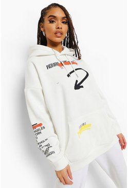 Ecru white Woman Graffiti Print Oversized Hoodie