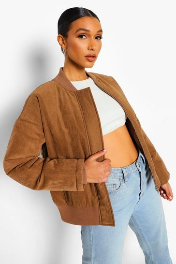Mocha beige Lace Up Detail Oversized Bomber Jacket