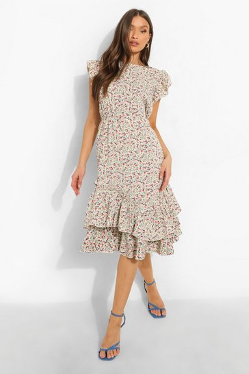 White Mixed Print Frill Hem Midi Dress