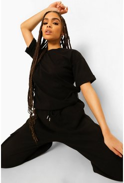 Black Woman Embroidery Oversized T-shirt