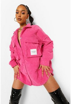 Hot pink pink Cord Oversized Utility Pocket Shirt