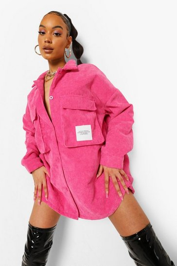 Hot pink pink Pink Cord Oversized Utility Pocket Shirt