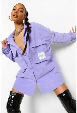 Lilac purple Purple Cord Oversized Utility Pocket Shirt