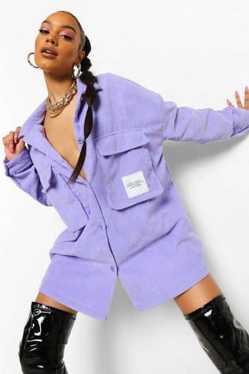 Lilac purple Cord Oversized Utility Pocket Shirt