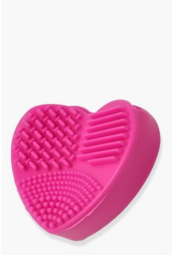 Baby pink pink Heart Shaped Makeup Brush Cleansing Pad