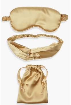 Gold metallic Satin Eye Mask, Headband And Pouch Set