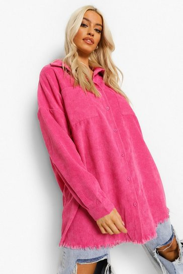 Hot pink pink Pink Cord Oversized Shirt