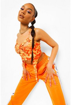 Orange Tie Dye Cut Out Corset Top