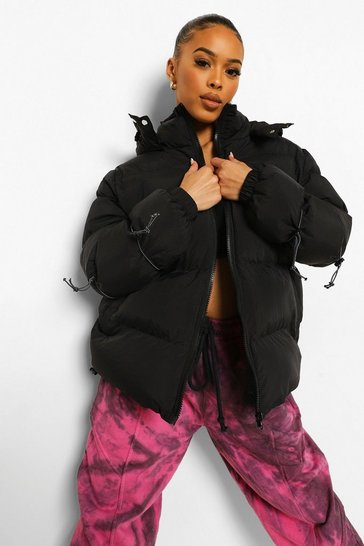 Black Bungee Cord Hooded Puffer Jacket