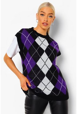 Black Check Knitted Tank