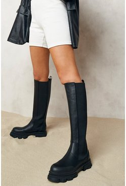 Black Chunky Cleated Sole Knee High Chelsea Boots