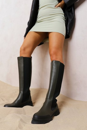 Khaki Chunky Cleated Sole Knee High Chelsea Boots