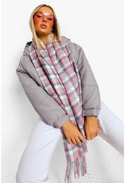 Baby pink pink Check Fringe Scarf