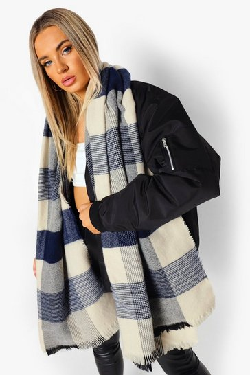 Cream white Oversized Chunky Brushed Check Scarf