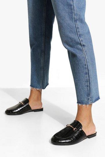 Black Wide Fit Croc T Bar Mule Loafers