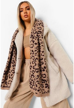 Brown Chunky Knit Leopard Scarf