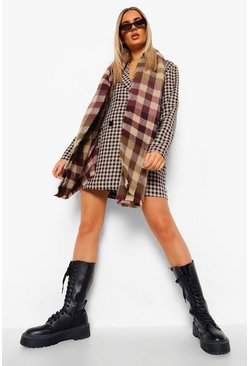 Chocolate brown Oversized Chunky Check Scarf