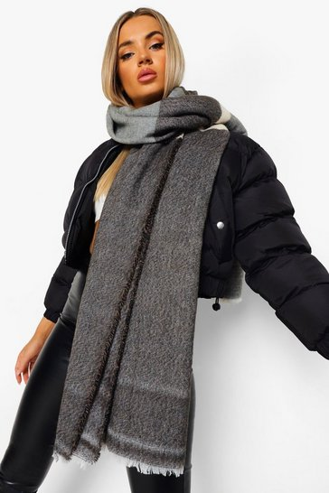 Grey Oversized Colour Block Scarf