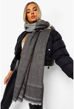 Grey Oversized Colour Block Sjaal