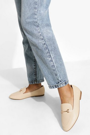 Nude Wide Fit T Bar Loafers