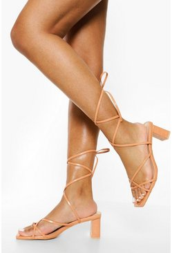 Light tan beige Strappy Low Block Heel Sandal