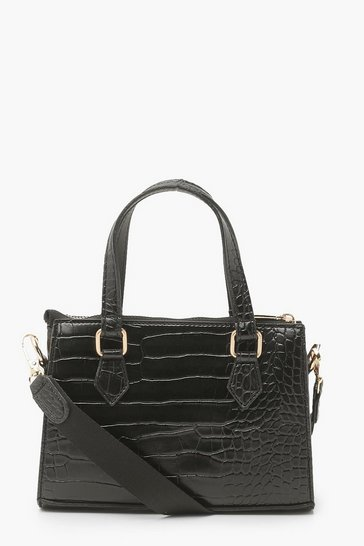 Black Croc PU Mini Cross Body Tote Bag