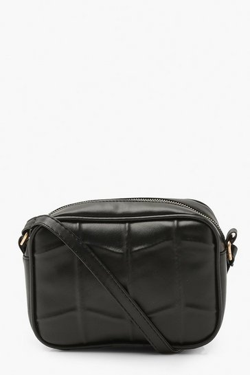 Black Quilted Panel Pu Cross Body Bag