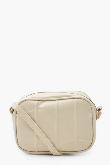 Cream white Quilted Panel Pu Cross Body Bag