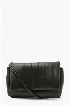 Black Chunky Strap Quilted Cross Body Bag