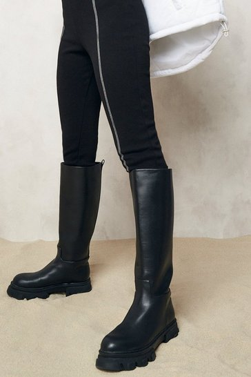 Black Pull On Chunky Knee High Boots
