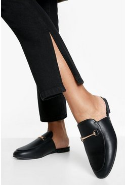 Black Brede Loafers Met T-Bar