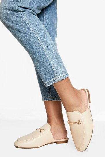 Nude Wide Fit T Bar Mule Loafers
