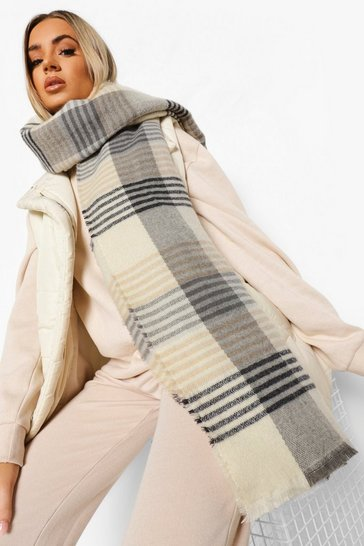 Cream white Oversized Check Scarf