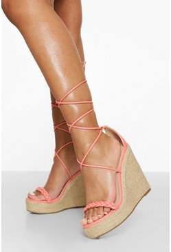 Coral pink  Woven Strap Wrap Up Wedge