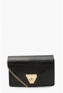 Black Envelope Croc Cross Body Bag And Chain