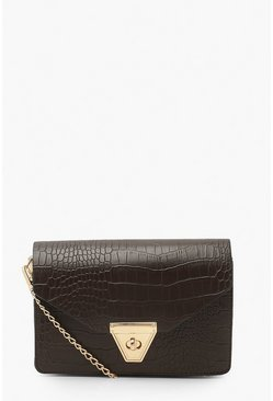 Brown Envelope Croc Cross Body Bag And Chain