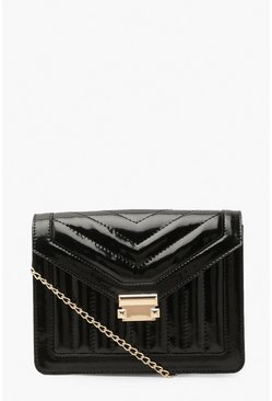 Black Patent Envelope Cross Body Bag