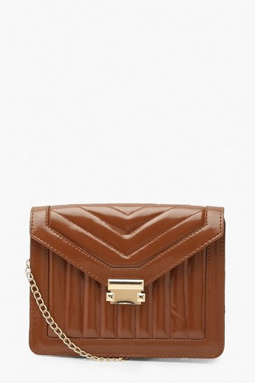 Camel beige Patent Envelope Cross Body Bag