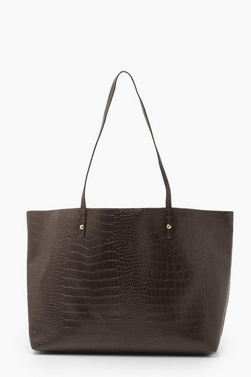 Brown Soft Croc Tote Bag