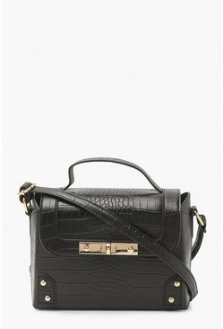 Black Croc Lock Detail Cross Body Satchel Bag