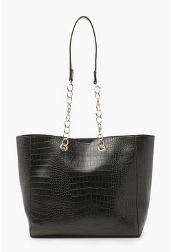 Black Croc Chain Handle Tote Bag