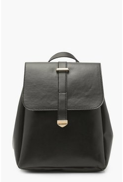 Black Smooth Pu Tab Rucksack