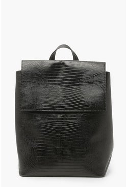 Black Croc Fold-over Rucksack