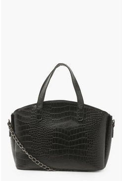 Black Croc Top Handle Day Bag